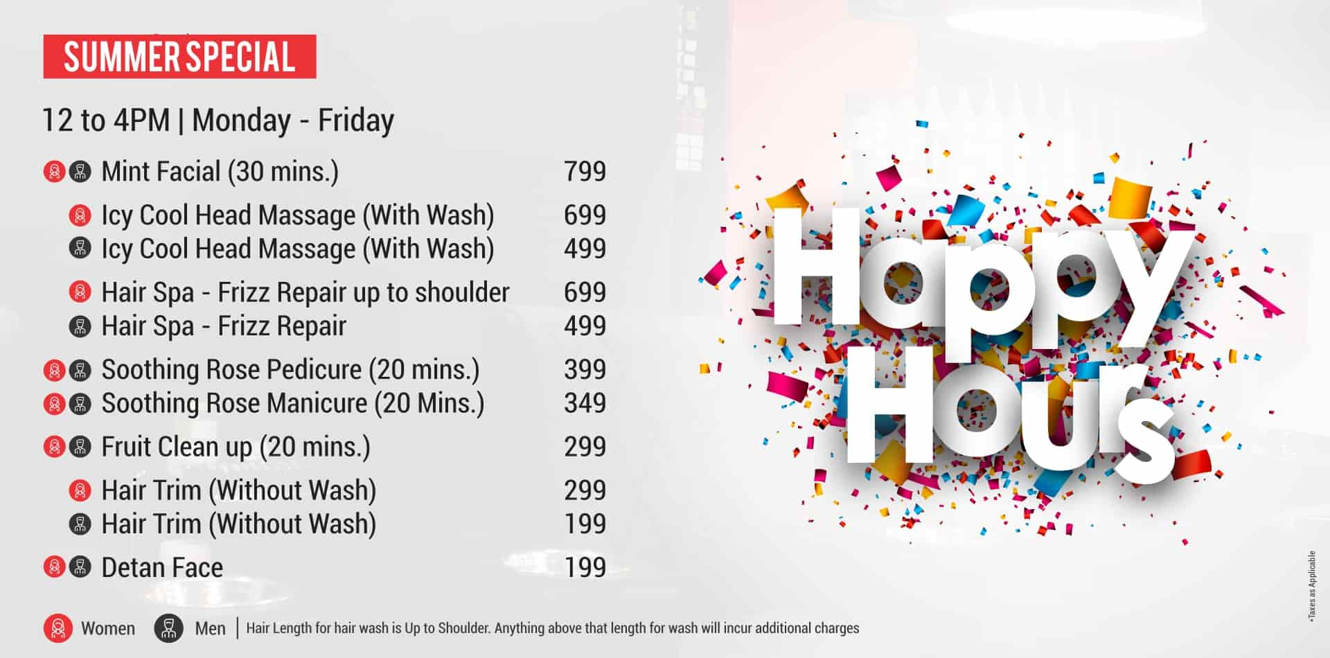 Happy hours offer, Just Flaunt Salon